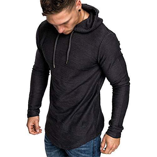 Mens Workout Sweatshirt Athletic Hoodies - Stylish Gym Running Hoodies Lightweight Pullover Black