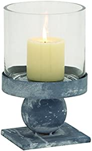 "Benzara Metal Glass Candle Holder 6"" W, 10"" H 97469"