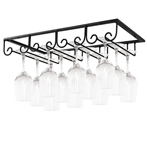 MOCOUM Under Cabinet Wine Glass Rack Stemware Rack Wine Glasses Hanger Rack Wire Wine Glass Holder Storage Hanger for Cabinet Kitchen Bar Black 4 Rows 1 Pack