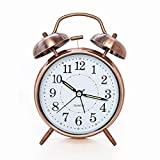 PIPAPOINT [Loud Sound for Deep Sleepers] 4'' Twin Bell Alarm Clock with Backlight, Battery Operated, Loud Alarm by Retro Style (Red Brown)