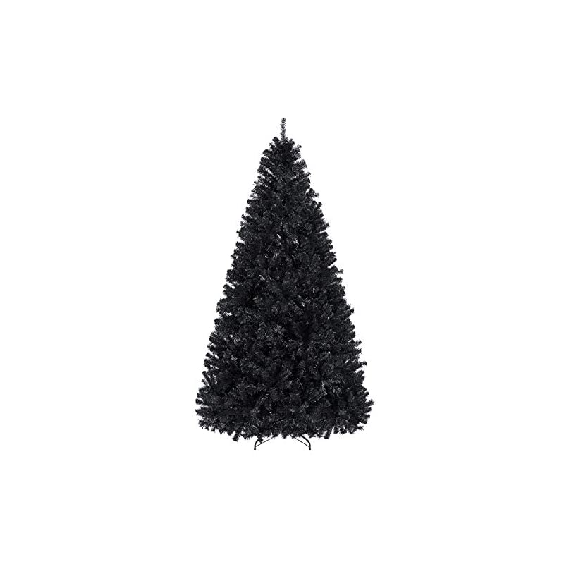 silk flower arrangements yaheetech 7.5ft black artificial christmas holloween pine tree holiday carnival party decoration with 1749 branch tips and foldable stand