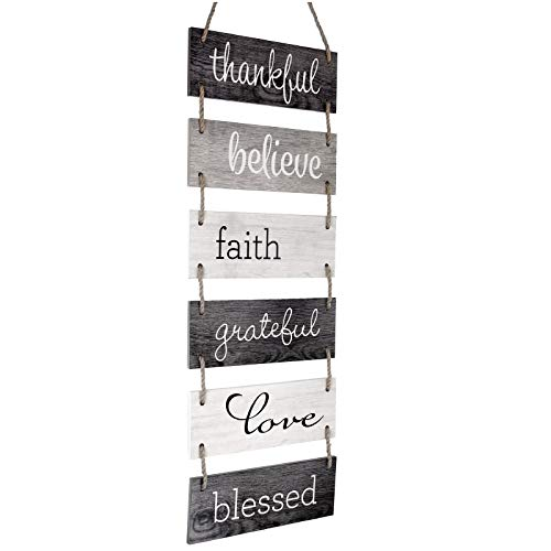 Excello Global Products Large Hanging Wall Sign: Rustic Wooden Decor (Grateful, Love, Believe, Thankful, Faith, Blessed) Hanging Wood Wall Decoration (11.75' x 32')