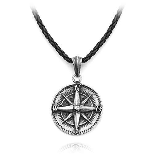 NA Halskette Kompass Runen Talisman Schmuck Halskette Nordic Amulett Runen Anhänger