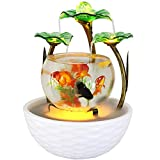 XIAOSAKU Tanque de Peces Cristal Creativo Cerámica Acuario Ecológico Paisajismo Salón Pequeño Escritorio Mini Lazy Goldfish Tank Aquarium Sala de Estar Pequeño Cuenco de Peces