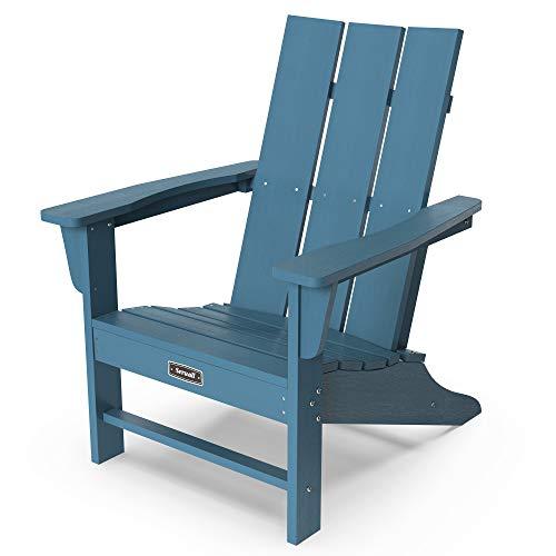 SERWALL Adirondack Chair Outdoor Classic Chair Weather-Resistant for Patio Deck Garden,Backyard Composite Chair Design-Blue