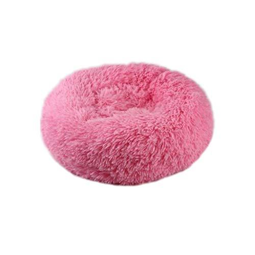 Koobysix Cat benodigdheden katten- en hondenbed shag fuax bont donut knuffelaar ronde donut hondenbedden geschenken voor uw katten, M, roze