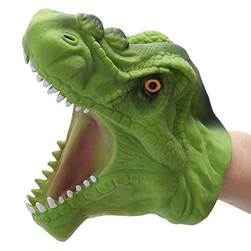 DIYARTS Dinosaurier Handpuppe Handschuhe Realistische Rollenspiele Tyrannosaurus Rex Kopfspielzeug Eltern Kind Interaktives Spielzeug (Grün)