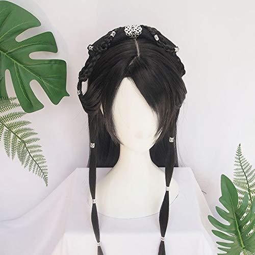 Peluca,pelo,Cosplay,Party,Halloween,wig,fiestas tematicas,juegos de roles,Peluca de modelado de peluca vintage Hanfu peluca de estilo antiguo chino multiusos disfraz antiguo gorra de peluca entera