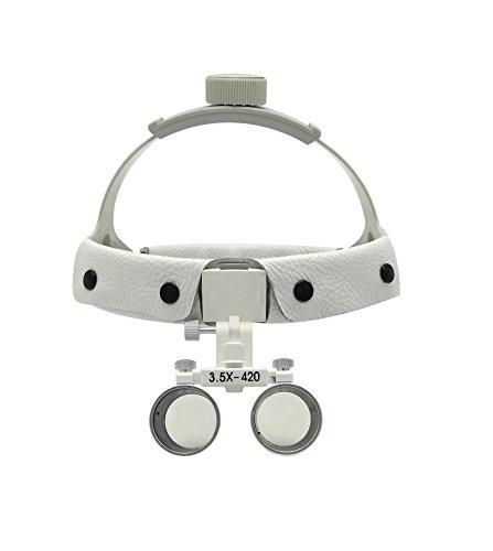 GoDen 3.5倍ヘッド式拡大鏡 3.5X双眼ルーペ 装着簡単 (ホワイト)