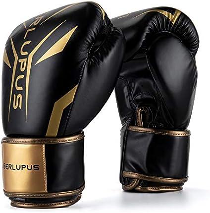 Liberlupus - Guantes de boxeo para hombre y mujer, guantes de boxeo, guantes de kickboxing, guantes de sparring, guantes de bolsa pesada para boxeo, kickboxing, Muay Thai, MMA (negro y dorado, 12 oz)