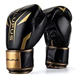 Liberlupus Cool Style Boxing Gloves for Men & Women, Boxing Training Gloves, Kickboxing Gloves, Sparring Gloves, Heavy Bag Gloves for Boxing, Kickboxing, Muay Thai, MMA(Black & Golden, 14 oz)
