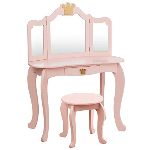 HONEY JOY Kids Vanity Set with Mirror and Stool, 2-in-1 Toddler Dressing Table with Large Table Top, Drawer & Tri-Folding Mirror, Princess Pretend Play Beauty Makeup Table for Little Girls (Pink)