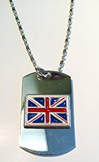 Great Britain Uk Union Jack Flag Hand Painted Pewter Emblem Logo Symbols - Military Dog Tag Luggage Tag Key Chain Metal Chain Necklace