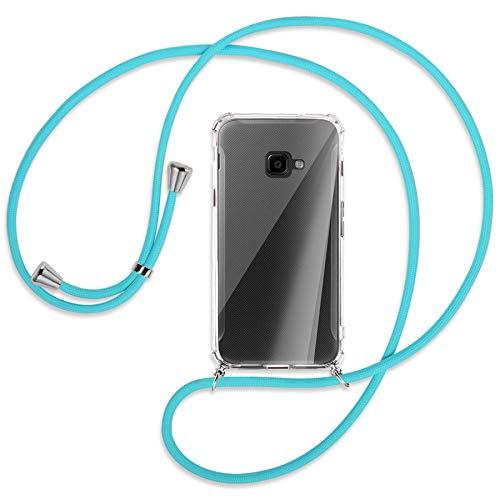 mtb more energy® Handykette kompatibel mit Samsung Galaxy Xcover 4, 4S (SM-G390, G398 / 5.0'') - türkis - Smartphone Hülle zum Umhängen - Anti Shock Full TPU Case