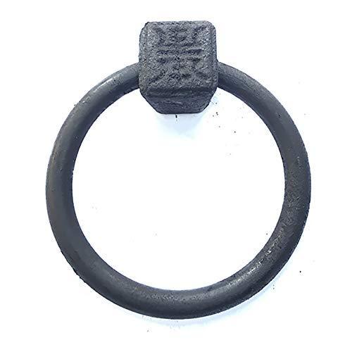Aldaba de puerta de hierro fundido negro, aspecto antiguo Artesanías de hierro fundido macizo y pesado hechas a mano Herrajes Manija de puerta de control de golpe-a