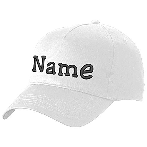 Nashville print factory Modisches Basecap Bestickt mit Namen oder Wunschtext | in 21 Farben (White)