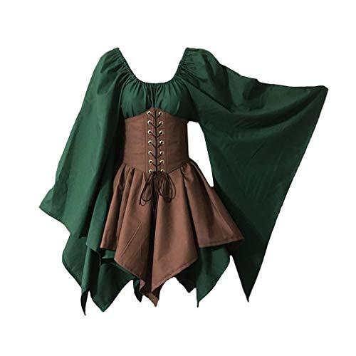 Kunfang Halloween Cosplay Mittelalter Kostüm Woodland Wood Elf Fairy Fantasy Taille Cincher Korsett Set Top und Gezackten Röcken