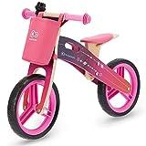 Kinderkraft Bicicletta in Legno RUNNER, Bici Senza Pedali, Sella Regolabile, Accessori, per Bambini, fino 35 kg, Rosa
