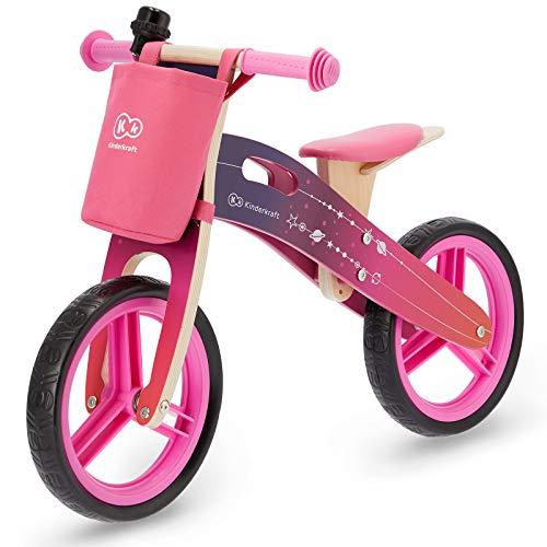 Kinderkraft Laufrad RUNNER, Lernlaufrad, Kinderlaufrad aus Holz, Lauflernrad für Kinder, Kinderrad mit Tragegriff, Tasche für Kleinigkeiten und Klingel, 12 Zoll Räder, ab 3 Jahre, Rosa