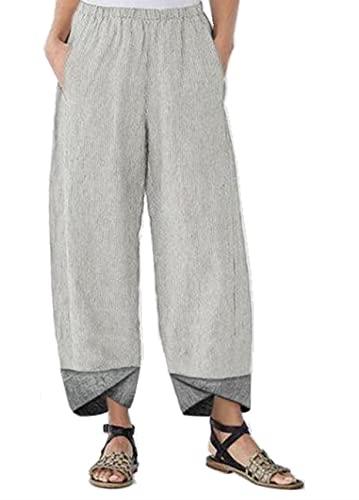 Pantalones De Verano De Color SóLido, Pantalones De Pierna Recta A Rayas A Juego De Color para Mujer, Pantalones Casuales Sueltos