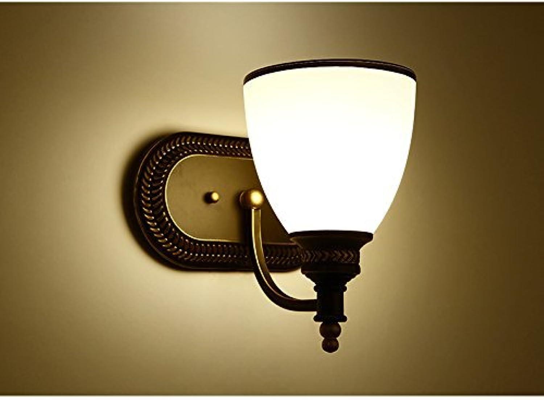 Europische Retro Einzel Doppel Kopf Lampe am Bett Bett Balkon Gang Spiegel vordere Beleuchtung Wohnzimmer schmiedeeisernen Lampen (Farbe  Single Head)