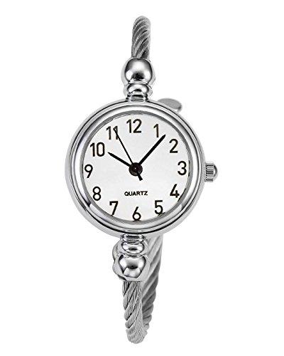 JSDDE Uhren Damen Armbanduhr Chic Manschette Damenuhr Spangenuhr Rund Armreifen Armkette Uhr Quarzuhr Silber Weiß