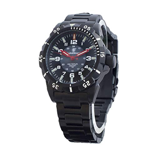 Smith & Wesson Emissary Swiss Tritium H3 Watch for Men, with Tactical Black Stainless-Steel Band Watch, Waterproof Durable Military Watch, Tactical-Tough Watch with Precision Quartz Japanese Movement