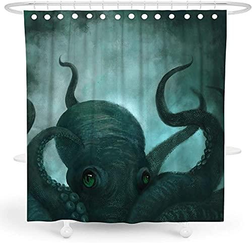 Octopus Shower Curtain Nautical Shower Curtain Kraken Shower Curtain Ocean Shower Curtain Kids Anime Shower Curtain Deep Sea Tentacle Polyester Waterproof Shower Curtain 72x72 Inch