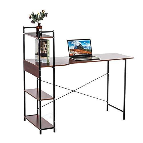 Lzcaure Escritorio de ordenador en forma de H para ordenador portátil, escritorio recto de 47 pulgadas de largo con 4 estantes para el hogar, la oficina, el dormitorio (tamaño: 90 cm, color: negro)