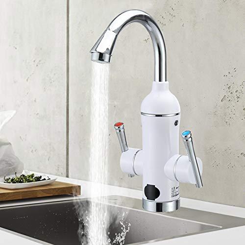 Calentador de agua eléctrico LED de 3000 W, indicador de temperatura LED, giratorio 360°, grifo de calor instantáneo para baño y cocina