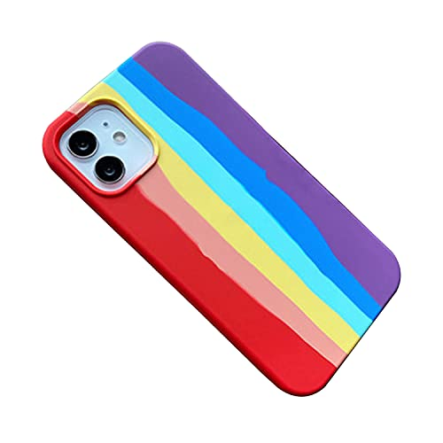 FOURTOC Funda para Teléfono para iPhone 11/11 Pro/11 Pro MAX Silicona Líquida Rainbow Stripe Line Carcasa de Silicona Líquida Funda Protectora,Rainbow Colors,8/7/SE2