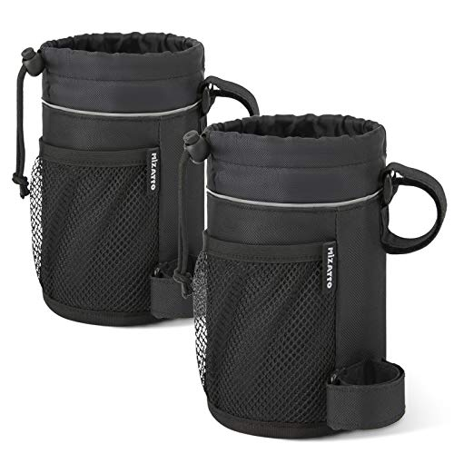 MIZATTO Bike Cup Holder  2 Pack Water Bottle Holder for Bike  Universal Cup Holders for Bike Boat UTV/ATV Scooter Wheelchair etc  Water Bottle Cage with Net Pocket and Cord Lock Black