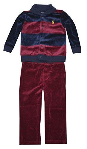 Ralph Lauren Conjunto de veludo listrado para meninos, Porta vermelha vintage multi, 9 meses