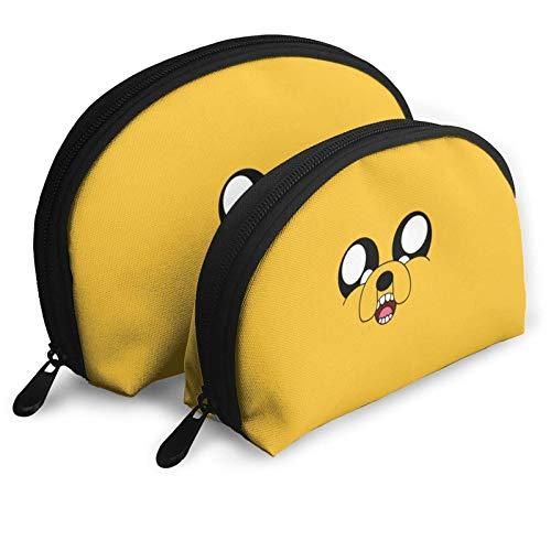XCNGG Dibujos animados divertidos Adventure Time Bolsas de cosméticos Bolsa portátil Conjunto de bolsa de embrague Mujeres Hombres Monedero de viaje con cremallera Organizador de bolsos 2 uds