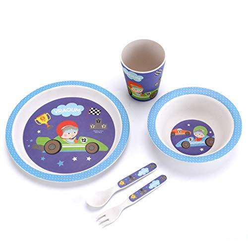 ZT Set vajilla Infantil de bambú sin BPA, 5 Piezas, Servicio de...