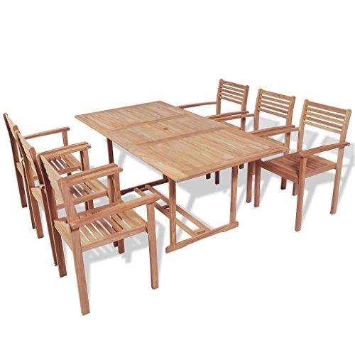 lingjiushopping Ensemble de salle à manger de jard ¨ ªn 7 pièces en bois de teck dimensions des chaises : 56 x 51 x 90 cm (largeur x profondeur x hauteur)