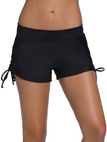 WILLBOND Women Swimsuit Shorts Tankini Swim Briefs Plus Size Bottom Boardshort Summer Swimwear Beach Trunks for Girls (L Size, Black with Side Drawtring)