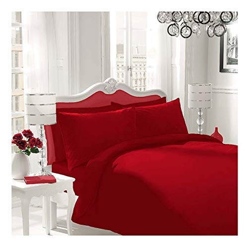 WOT NON IRON Parcale Plain Dyed Duvet Cover & 2 Pillow Cases Bed Set (Red, Double)