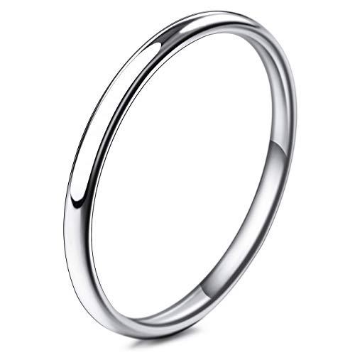 MunkiMix Breite 2mm Edelstahl Band Ring Silber Ton Hochzeit Größe 52 (16.6) Herren,Damen