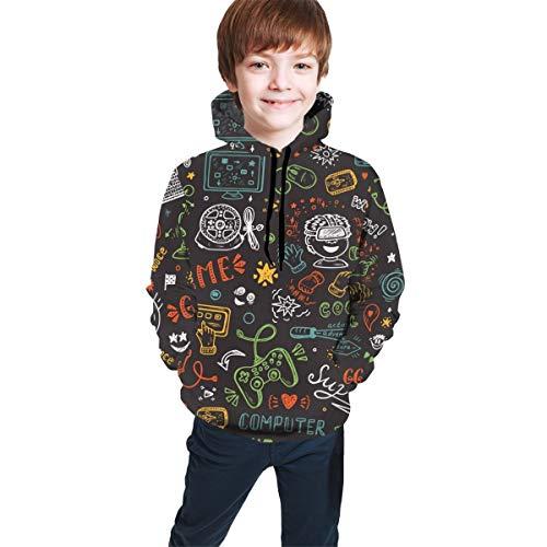 Camiseta de suéter para niñas y niños Videojuego Monocromo Vintage sin Costuras...