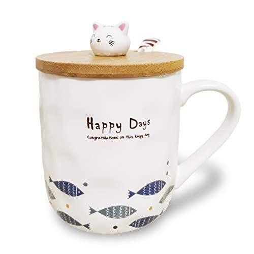3D Cat Mug Cute Japanese Ceramic Coffee Tea Cup with Wooden Decor Lid and Spoon, Funny Novelty Gift for Teacher Mom Women Friend Lovers (Shoal of Fish)