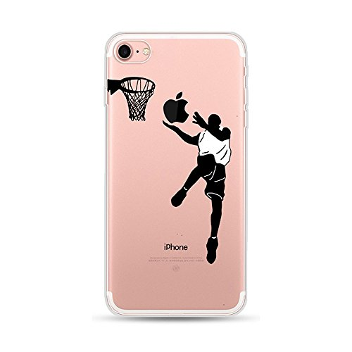 CrazyLemon para iPhone 6S Plus Funda iPhone 6 Plus, Funda Protectora de TPU Transparente Ultra Delgada de Gel de TPU Silicona Transparente para iPhone 6 Plus / 6S Plus 5.5' - Jugar Baloncesto