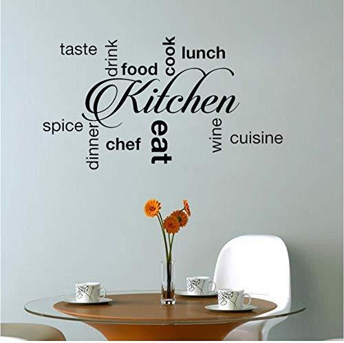 Palabras De Cocina Sabor Beber Comida Cocinar Comer Cena Vino Decoración De Arte Pvc Etiqueta De La Pared 63X35Cm