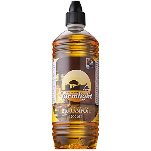 Farmlight Lampoil Citron 1L Olio alla Citronella Naturale per Lampade, Torce e Fiaccole, 1 Bottiglia da 1 litro, Amber