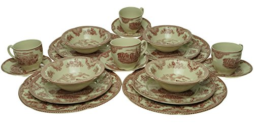 Johnson Brothers 2425625405 Old Britain Castles 20-Piece Dinnerware Set, Pink