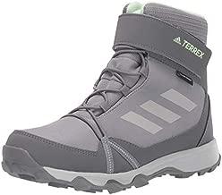 adidas outdoor Kids' Terrex Snow CF CP CW Boot, Grey Three/Grey Two/Glow Green, 3 Child US Big Kid