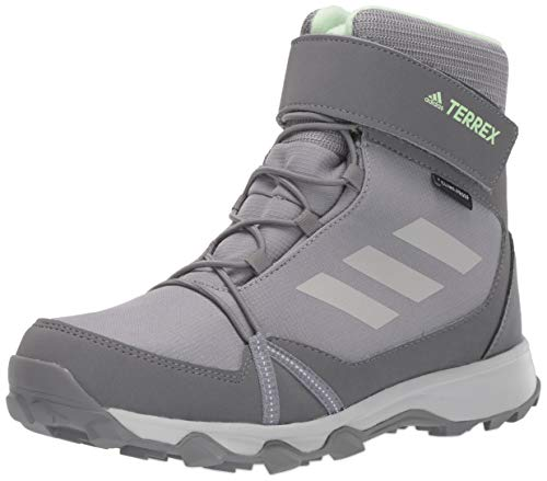 adidas outdoor Unisex-Child Terrex Snow CF CP CW Boot, Grey Three/Grey Two/Glow Green, 4.5 Child US Big Kid