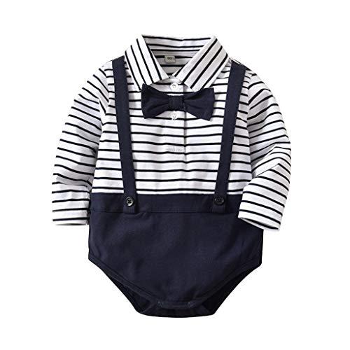 ProperLI Nouveau-né Chaud bébé garçons Barboteuse rayé Marine en Col Rond Bleu pour Gentil Homme avec Décoration de Noeud Papillon