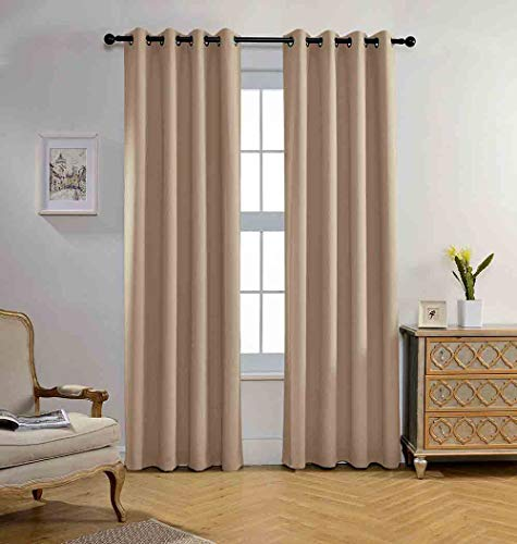Miuco Blackout Curtains Room Darkening Curtains Textured Grommet Window Curtains for Living Room 2 Panels 52x84 Inch Long Taupe