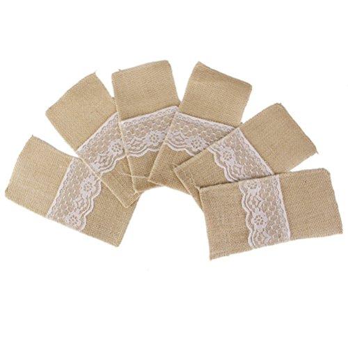 LIOOBO Porte-coutellerie en dentelle de jute Couteaux de poche et fourchette pour couverts de jute de Hesse rustique vintage pour décoration de réception de mariage 4 * 8 pouces, paquet de 10